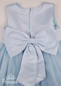 Фото: Фатиновое голубое платье для девочки с цветком на талии (артикул 3023-blue) - изображение