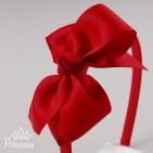 Фото: Красный обруч с бантом (артикул 1011-red) - изображение