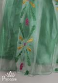 Фото: Детское платье Анны из Фрозен с узором из блёсток (артикул 3004-green) - изображение