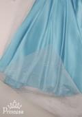 Фото: Новогодний костюм Фрозен с длинной накидкой и шлейфом (артикул 3012-light blue) - изображение