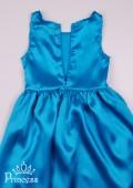 Фото: Платье Холодное Сердце с накидкой и перчатками в снежинках (артикул 3013-blue) - изображение