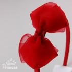 Фото: Ободок для волос с красным бантом (артикул 1041-red) - изображение