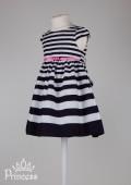 Фото: Платье детское в полоску с розовой лентой (артикул O 50286-stripes) - изображение