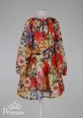 Фото: Zara. Шифоновое платье для маленькой принцессы с длинным рукавом (артикул O 50288-flowers) - изображение