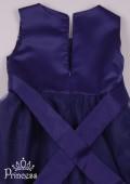 Фото: Нарядное темно-синее платье для девочки с эффектным декором (артикул 3087-dark blue) - изображение