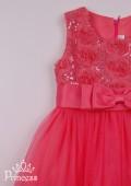 Фото: Нарядное коралловое платье для девочки с бантом (артикул 3058-coral) - изображение
