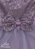Фото: Праздничное платье для девочки стального цвета (артикул 3087-grey) - изображение