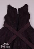 Фото: Ажурное платье для девочки с А-образным силуэтом (артикул 3102-black) - изображение