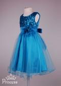 Фото: Голубое нарядное платье для девочки с пайетками на лифе (артикул 3074-blue) - изображение