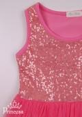 Фото: Красивое коралловое платье для девочки с золотистыми пайетками на лифе (артикул 3085-coral) - изображение