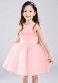 Фото: Нарядное детское платье изумительно-нежного персикового цвета с ажурным лифом (артикул 3091-peach) - изображение