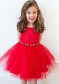 Фото: Красное вечернее платье для девочки с ажурным лифом (артикул 3005-red1) - изображение