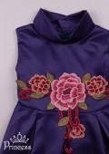 Фото: Вечерний вариант детского платья из темного атласа (артикул 3101-dark blue) - изображение