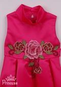 Фото: Праздничное яркое платье для девочки с воротником-стойкой (артикул 3101-pink) - изображение