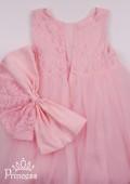 Фото: Нарядное детское платье нежного персикового цвета с ажурным лифом (артикул 3088-light pink) - изображение