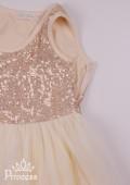 Фото: Нежное нарядное детское  платье цвета ванили с лифом в пайетках (артикул 3085-light beige) - изображение