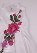 Фото: Белое платье для девочки из атласа со встречными складками (артикул 3101-white) - изображение