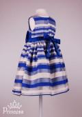 Фото: Красивое детское полосатое платье в синих оттенках (артикул 3094-blue) - изображение