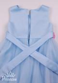 Фото: Нарядное платье для девочки с декором цветов на лифе и на юбке (артикул 3097-light blue) - изображение