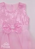 Фото: Красивое праздничное платье нежно-розового цвета с многослойной юбкой из фатина и полиэстера (артикул 3087-light pink) - изображение