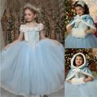 Фото: Красивое детское платье с накидкой (артикул 3110-light blue) - изображение