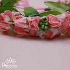 Фото: Цветочный венок для волос персикового цвета (артикул 1073-peach) - изображение