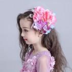Фото: Заколка с вуалью и цветами (артикул 1075-pink-violet) - изображение