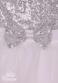 Фото: Красивое белое платье для девочки с мелкими пайетками на лифе (артикул 3087-white) - изображение