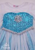 Фото: Платье для девочки с белыми рукавами и длинным шлейфом (артикул 3113-light blue) - изображение