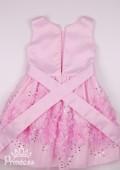 Фото: Нежно-розовое детское платье с объёмными цветами на юбке и отделкой из бисера и пайеток (артикул 3115-light pink) - изображение