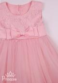 Фото: Персиковое платье с цветами на лифе и подоле (артикул 3119-peach) - изображение