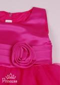 Фото: Длинное платье в пол с розой для девочки (артикул 3072-pink) - изображение
