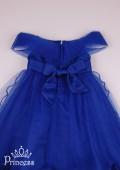 Фото: Детское праздничное синее платье с брошкой (артикул 3121-blue) - изображение