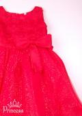 Фото: Пышное ярко-красное платье для девочек (артикул 3024-red ) - изображение