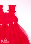 Фото: Платье для девочки алого цвета с кружевом на лифе (артикул 3125-red ) - изображение