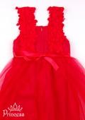 Фото: Платье алого цвета с кружевом на лифе (артикул 3125-red ) - изображение