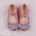 Фото: Туфельки принцессы в светло-розовом цвете (артикул 1087-light pink) - изображение