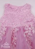 Фото: Детское платье с фигурным кружевом на лифе (артикул 3134-light pink) - изображение