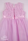 Фото: Нежное платье для девочки с лентой-бантиком (артикул 3126-light pink) - изображение