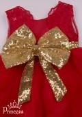 Фото: Детское платье красного цвета с кружевной спинкой (артикул 3129-red) - изображение