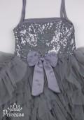 Фото: Платье с рюшами на юбке (артикул 3132-grey) - изображение
