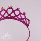 Фото: Детская корона-обруч в малиновом цвете (артикул 1113-pink) - изображение